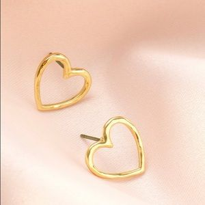 Hammered Gold or Silver Heart Stud Earrings